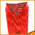 Pcs 7 15 70g pulgadas buena calidad brasileña 5a clip en extensiones del pelo red# color del pelo humano r