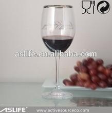 ASG3119G-540ml 19oz Christmas Celebration Pattern Gold Rim Red Wine Stemware!Gold Rim Long Stem No Lead Crystal Glass Stemware