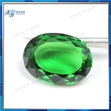 China wholesale precious stones emerald green 15x20mm oval crystal glass green gemstones rough diamond stone