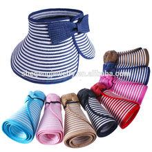 Girl Beach Sun Visor Foldable Roll Up Wide Brim Straw Hat