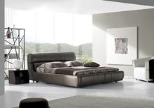foshan shunde furniture factory offer bedroom set furniture, modern leather bed M9006