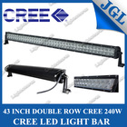 """240w 43"""" off road led light bar, auto vehicle cree roof led light bars, 4x4 offroad led light bar with clear/yellow/blue cover"""