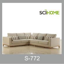 tecido de linho natureza estilo ikea sofá de canto grande com vidoeiro moldura de madeira