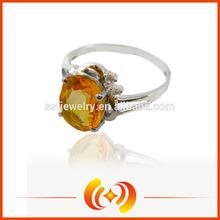 China Fashion 925 Sterling Silver Natural Citrine Engagement Ring