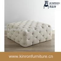 White Fabric Crystal Button Pouf Ottoman Latest Sofa Design Used Living Room Furniture Ottoman