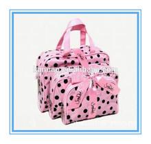three piece gift bow wholesale promotional polyester large handbag cosmetic make up bag fashion 2014