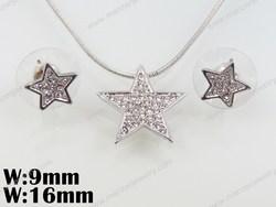 High Quailty Star Shape Pendant element crystal fashion silver jewelry set