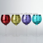 4pcs colored&silver with cuting glass candle holder