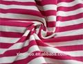 Caliente de la venta 100% de algodón jersey blanco y melocotón de algodón a rayas tejido de punto