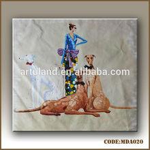 100% handmade beautiful women with dogs portrait