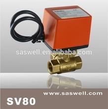 Motorized ball valve with brass type ball