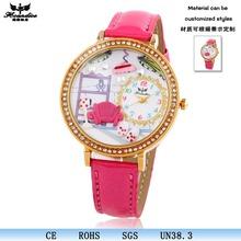 Hot sale Big dial pink fashion ladies hand chain watch