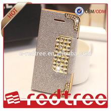 Handbag Shinny leather bling bling wallet mobile phone case for iphone 6