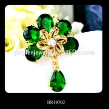 Flashing Green Rhinestone Muslim Brooch Hijab Scarf Pins