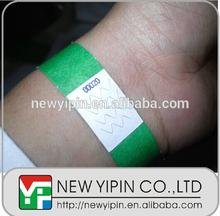 ID identification bracelet tyvek wristband, cheap eco-friendly one time paper waterproof rfid tyvek wristbands