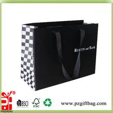 glossy black wholesale luxury paper shopping bag