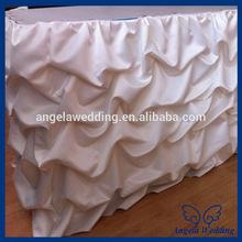 SK002F Hot sale popular polyester taffeta banquet ruffled gathered table skirts