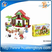 Hot selling plastic educational kids toys mini building blocks for sale for 2014 84PCS Blocks Farm H135026