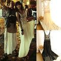 Nuevas mujeres la atractiva escarpada del cordón de Boho Beach Maxi vestido sin mangas larga plisada vestido de tirantes SV004511 #