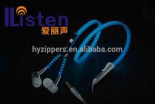 cheap luminous zipper earphone headphone with mic noise isolating wholesale for apple