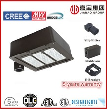 LED shoebox DLC UL listed IP65 parking lot street light area luminaire wide beam angle high efficiency cooling system