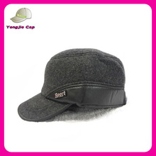 top quality gray woolen men military hats caps with earmuff for winter