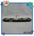 sgy81 base de madera de las mujeres blancas de yoga estatuilla tallada a mano velas