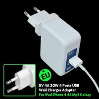 USB Wall Charger Home and Travel 4 port Charger for iPhones, iPods; Motorola Droid RAZR MAXX; Samsung Galaxy