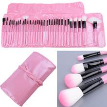 32 PCS Makeup Brush Set Cosmetic Pencil Lip Liner Make Up Kit Holder Bag Pink SV004464#