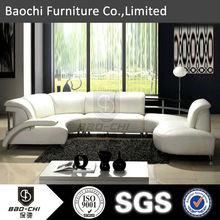 Baochi furniture modern stainless steel white genuine sofa, U-shaped sofa C1131