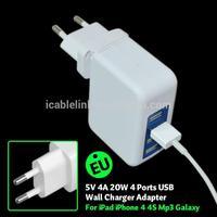 20W / 4 A Folding EU Plug & Narrow Footprint Portable Travel 4 Port USB Wall Charger Adapter For iPhone 5 4S 4, iPad Mini Air