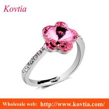 Plated platinum women ring pink crystal diamond wedding ring