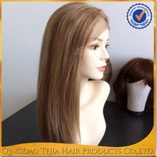 2014 new hair styles long glueless full lace human hair wigs brown blonde highlights