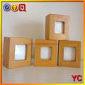 in legno nuovo set di 4 mini cubo cornice per foto impilabile