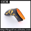 Wholesale Personalized Golf Putter Head Covers Magnetic Closure Black Leather Putter Headcover
