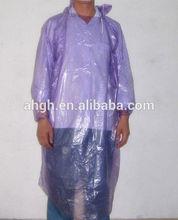 PE rain coat with hat ,rain poncho with long sleeves plastic rain coatwith logo print