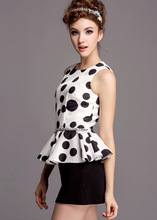 M40306B 2014 western styles summer new wave point printed women's clothing set