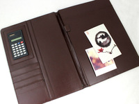 Promotional portfolio with pu leather cover and custom made logo