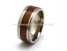 Wood Inlay Titanium Ring,Fashion Wood Ring 100% Hypoallergenic Titanium Wedding Ring