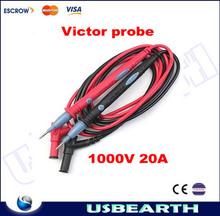 TOP quality !!! 2PCS Victor Multimeter Probe Test Cable Lead, very sharp 1000V 20A Victor Multimeter Probe