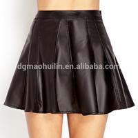 Wholesale korean fashion ladies skater pleat genuine leather skirt