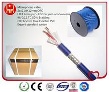 80% Braiding Blue Color Bulk Microphone Cable with high flexible PVC