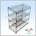High quality metal floor stand two pockets fruit rack display shelf