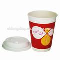 descartáveis duplo de parede personalizados impressos de papel xícaras de café com tampas chinês atacado