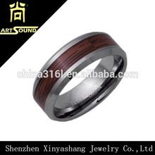 Fashion wedding wood inlay tungsten ring