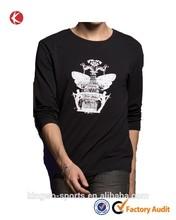 Custom mens casual printing long sleeve o-neck printed t-shirt