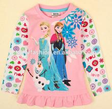 cute frozen long t-shirt girls beautiful t-shirt wholesale