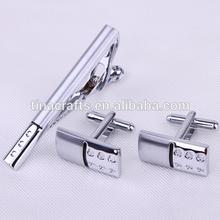 Silver cufflinks & tie clip set engraved for man