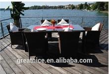 new design 6 seats outdoor rattan garden patio wicker weave furniture dining set