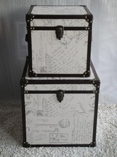 Set of 2 printing linen square storage trunk